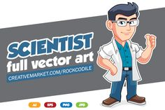 Scientist Character Mascot by pecellele pencil on Creative Market