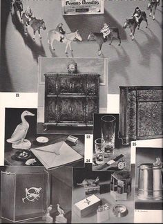 Elegant Gifts for Gents, final page, Country Life in America, 1938. Highlights on this page include very fancy phonograph radios from Capehart and RCA, a cigarette box with a carved Scottie on top from Alfred Dunhill, and a musical cigarette box from Abercrombie  Fitch.