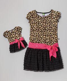 Another great find on #zulily! Brown Leopard Cap-Sleeve Dress  Doll Dress - Toddler  Girls #zulilyfinds