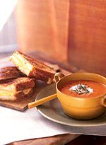 Tomato-Fennel Soup with Grilled Gouda Sandwiches.  What a great cool rainy day dish!