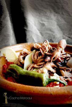 Nueva Cocina Marroqui: Tajine de pulpitos de Alhucemas