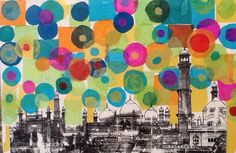 Badshai Mosque Lahore  Image transfer and tissue paper collage by students with special needs  www.sceipak.org