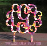 Patterned Vine Font Monogram Cake Topper. Patterns remind me of Lily. Great for weddings, birthdays or any special occasion. Thick, heavy duty (not flimsy) acrylic that will last a long time. Looks cute in a planter, too! www.kellyosteen.com