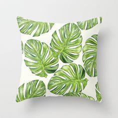 monstera leaf cushion