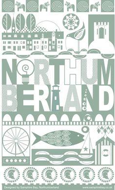 great tea towel design representing Northumberland