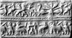Cylinder seal with animal contest and banquet scene  Period:Early Dynastic III Date:ca. 2600–2350 B.C. Geography:Mesopotamia Culture:Sumerian Medium:Lapis lazuli Dimensions:H. 3/4 in. (1.9 cm); Diam. 7/16 in. (1.1 cm)