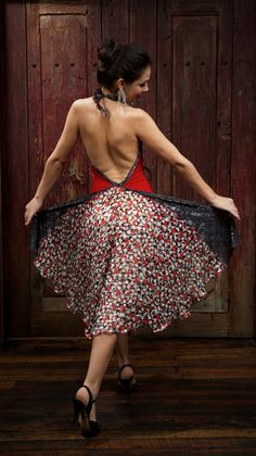 Red and silver backless dress. Tango dress. by AtelierVertex