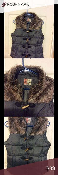 RuffHewn Vest Worn twice it's a PM but fits like a normal vest it's a blue grey fFaux fur collar wooden buttons with black faux leather on buttons nice vest I just don't care for the collar to hot RuffHewn Jackets & Coats Vests