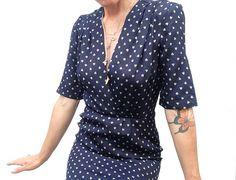 1980s vintage dress DANIEL HECHTER navy blue / printed hearts