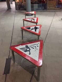 Road signs as tables. | 19 Types Of Furniture You Only Find In Hipster Establishments