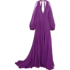 Jenny Packham Cutout pleated silk-chiffon gown (£2,795) ❤ liked on Polyvore featuring dresses, gowns, gown, cutout dresses, cut out shoulder dress, purple pleated dress, cold shoulder gown and cold shoulder dress
