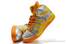 Adidas Originals X Jeremy Scott JS Logo Silver Yellow-_-#~~~^_^~~~
