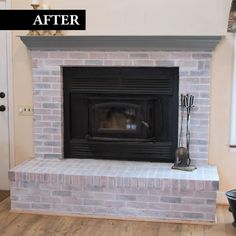 Most up-to-date Photo Fireplace Remodel brick Concepts Brick Transformations Whitewash Paint Fireplace Update, Brick Fireplace Makeover, Home Fireplace, Fireplace Design, Fireplace Mantels, Brick Fireplace Remodel, Reface Brick Fireplace, Fireplace Ideas, Painting A Fireplace