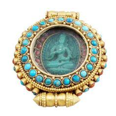 Tibetan Buddhist Gold Turquoise Buddha Prayer Box: Home