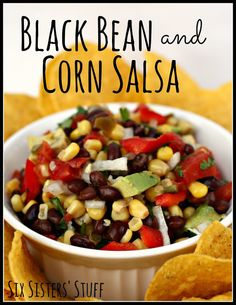 Black Bean and Corn Salsa- loaded with veggies! Fresh and delicious! SixSistersStuff.com #appetizer #partyfood