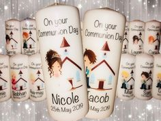 First Holy Communion Candle Communion Gifts, Personalized Candles, Irish Girls, First Holy Communion, Pillar Candles, Holi, Handmade Items, This Or That Questions, How To Make