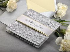 Light Yellow and Silver  Lace  Wedding Invitation, Pocket Fold Wedding Invitations , Vintage Wedding invitation, Burlap WEdding Invitation,
