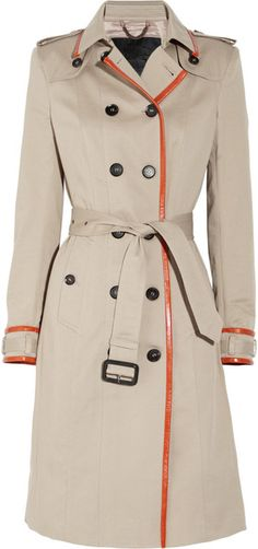 #BURBERRY PRORSUM  Leather-trimmed Cotton-gabardine Trench Coat