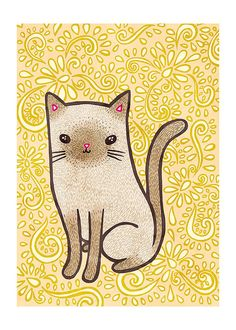 Fancy Cat 5x7 Illustration Print by MyZoetrope on Etsy, $10.00
