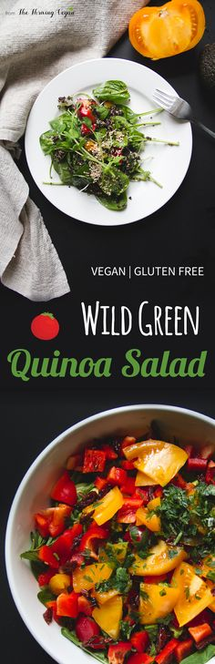 Wild green quinoa salad made from super nutritious spring greens, tomatoes, avocado and lots of other wholesome ingredients.