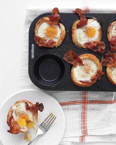 Bacon, egg and toast cups.  butter pan, roll out bread slices. cut into rounds, brush bread with melted butter, place one slice bacon (previously pan cooked 4mins) place once slice over top of bread, crack egg, salt and pepper.  cook 25 mins 375F until egg white. can also add cheese