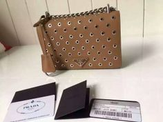 Limited Edition!Prada 2016 Runway Shoulder Bags Cheap Sale -Prada Caramel Calf Leather Shoulder Bag with Grommet Details and Chain