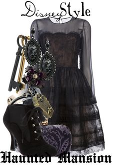 Haunted Mansion outfit for my bridesmaids to wear to my future wedding at Disneyland. Disney Themed Outfits, Disney Bound Outfits, Dark Fashion, Cute Fashion, Fashion Styles, Fashion Ideas, Disney Inspired Fashion, Disney Fashion, Disney Style