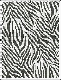 Zebra crochet chart that repeats! bigger and more stripes =] Crochet Cross, Crochet Chart, Filet Crochet, Tapestry Crochet Patterns, Crochet Stitches Patterns, Knitting Patterns, Cross Stitch Designs, Cross Stitch Patterns, Bargello Quilts