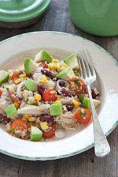 Quinoa salad w/ chicken and avocado