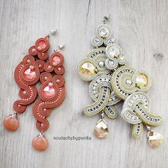 Soutache Earrings, Ring Earrings, Shibori, Wearable Art, Diy And Crafts, Dangles, Coral, Beads, Silver