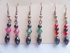 3 Pairs of Swarovski crystal and hematite earrings on a keepsake card by SparkleandComfort, $15.00
