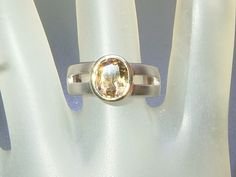 Bezel 2ct Golden Tourmaline Solitaire Band Ring Sterling Silver 18k Yellow Gold by Gemsbygigialonia on Etsy