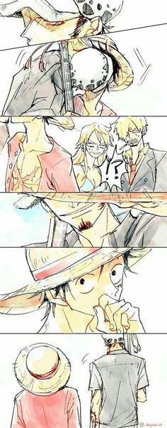 Luffy and Law - One Piece One Piece Anime, Sanji One Piece, One Piece Comic, One Piece Ship, One Piece Fanart, Anime One, One Piece Pictures, One Piece Images, Manga Anime