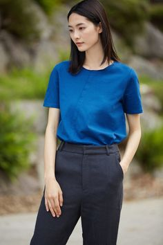 #AdoreWe #StyleWe T-Shirts❤️Designer AMII REDEFINE H-line Simple Solid Paneled Short Sleeve T-Shirt - AdoreWe.com