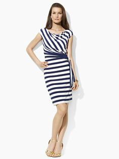 Striped Jersey Cowlneck Dress - Short Dresses   Dresses - RalphLauren.com
