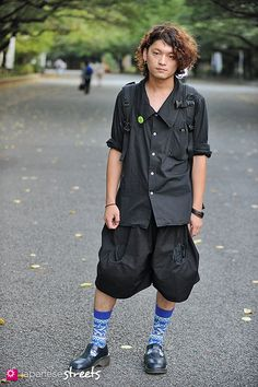 Japanese street fashion in Ueno, Tokyo | Love his hair and earring!