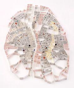"'Dublin, Text from the novel ""Ulysses"" by James Joyce Matthew Picton - Ashland, Oregon artist Planer Layout, London School Of Economics, Arch Model, Map Design, Graphic Design, City Maps, Urban Planning, Book Art, Paper Sculptures"
