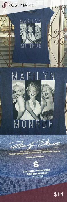 Blue t-shirt with Marilyn Monroe on front. Juniors small, brand new, never worn. Tops Tees - Short Sleeve