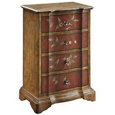 """Four-drawer wood chest in walnut. Product: Chest  Construction Material: Wood     Color: WalnutFeatures: Four drawersEye-catching designDimensions: 32"""" H x 21"""" W x 13"""" D"""