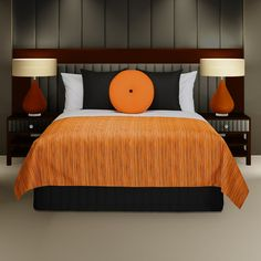 """Malibu"" Special Colour Bed Shawl and a ""Vantage"" Orange Round Cushion and ""Siam"" Black Scatter Cushions"