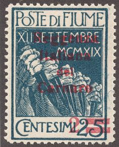 Fiume  1920 2c on 25c indigo with red surcharged Hands holding Daggers