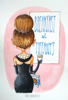 Original Breakfast at Tiffany's watercolor by SrtaSinfonier