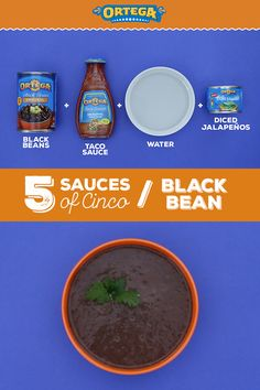 Black Bean Sauce should be a staple at your Cinco de Mayo celebration this year. This versatile sauce can top chicken for a hearty main course, or can be used as a base for veggie tacos.   Ingredients: 1 can drained Ortega Black Beans, 1 cup water, 1/2 cup Ortega Taco Sauce, 1 small can Ortega Diced Jalapeños  1) Blend Ortega Black Beans, Taco Sauce, Diced Jalapeños, and cup of water until desired texture.  2) Layer into Ortega Taco Shells for veggie tacos, or slather on top of grilled… Mexican Food Dishes, Mexican Food Recipes, Dinner Recipes, Backed Beans, Nibbles For Party, Veggie Tacos, Chicken Sliders, Taco Sauce, Homemade Seasonings
