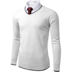 Doublju Mens V-neck Basic Pullover Sweater ($25) ❤ liked on Polyvore