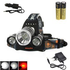 BORUIT 6000LM XML T6+2R5 Red LED Headlamp Headlight Torch+2X18650 Battery +AC/Car Charger Camping Fishing Cycling Rock Climbing #Affiliate