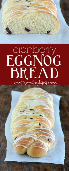 Soft and tender, this cranberry eggnog bread is a must make at our house every holiday season! via @creationsbykara.com