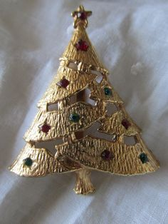"Vintage CHRISTMAS TREE PIN/Brooch Gold Plating Red and Green Rhinestone Accents Measures 2 1/4"" X 1 3/4"" Ladies Unsigned Collectible Holiday by MedlinAntiques on Etsy"
