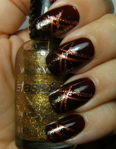 Autumn mani - striped nail design