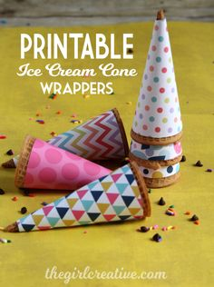 Printable Ice Cream Cone Wrappers - The Girl Creative