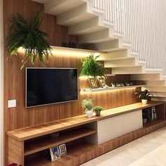 Super Living Room Storage Under Tv Small Spaces 43 Ideas Home Stairs Design, Tv Wall Design, Interior Stairs, Modern House Design, Home Interior Design, Design Design, Creative Design, Living Room Under Stairs, Living Rooms